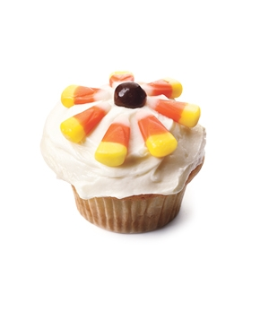 Candy corn sunflower cupcake