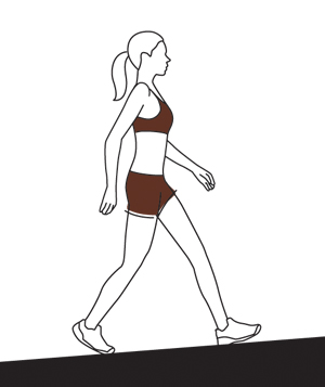 Illo woman walking incline