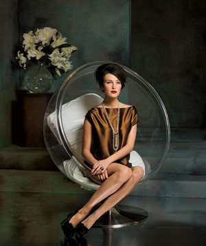 Model in round chair