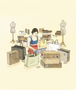 Woman shopping sample sale illo