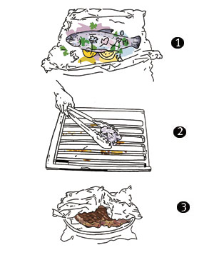Illustrations of uses for aluminum foil while grilling
