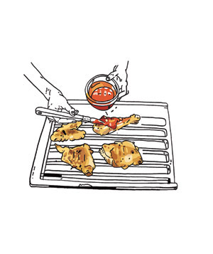Illustration of chicken being basted while on a grill pan