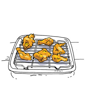 Illustration of fried chicken on a cooling rack