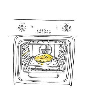 Illustration of a pie baking in an oven