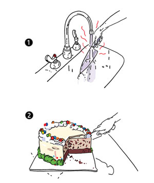 Illustration of slicing an ice cream cake