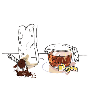 Illustration of iced coffee and tea steeping