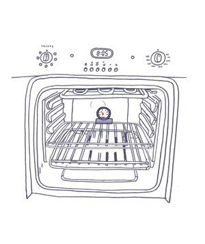 Illustration of an oven thermometer