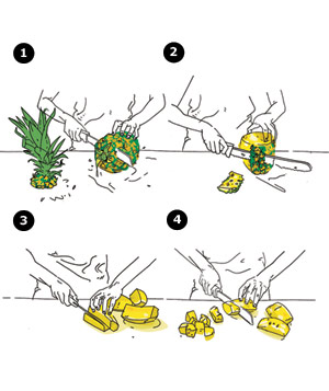 Illustration of cutting up a pineapple