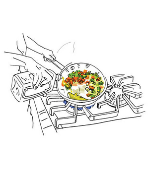 Illustration of a pan on the stove