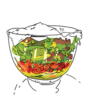 Illustration of a prepared salad in a salad bowl covered with plastic wrap