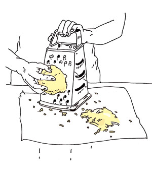 Illustration of hand shredding cheese with a cheese grater