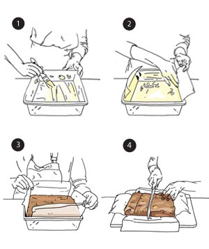 Illustration of how to slice brownies and bars neatly