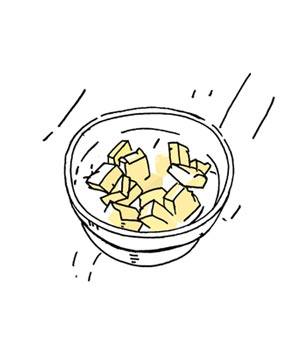 Illustration of how to soften butter