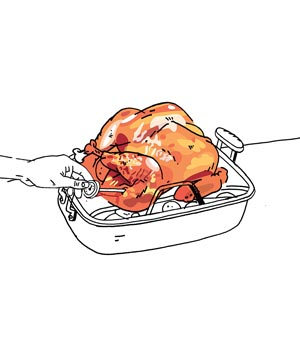 Illustration of taking the temperature of a cooked turkey
