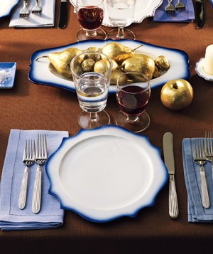 Blue and white china table setting