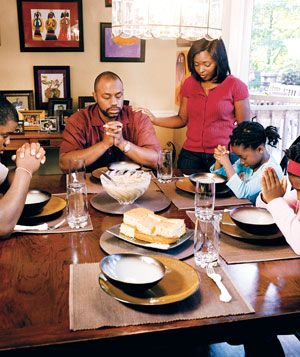 The Chiles family enjoying dinner together
