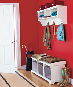 Red entryway with bench