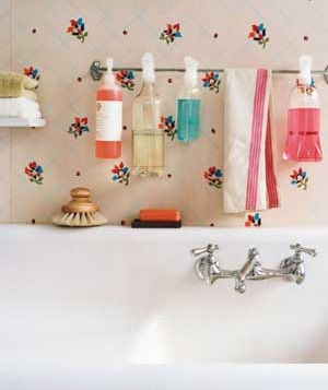 Towel rack used as a toiletry organizer
