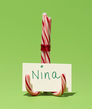 New use: candy cane as place card holder