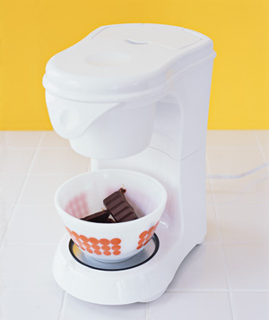 Coffee maker used to soften chocolate