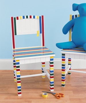 Electrical tape used to decorate a chair
