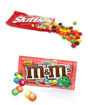 Peanut M&M's and Skittles