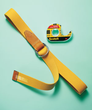 Yellow belt with double-sided scotch tape