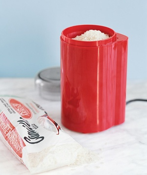 Coffee grinder full of rice