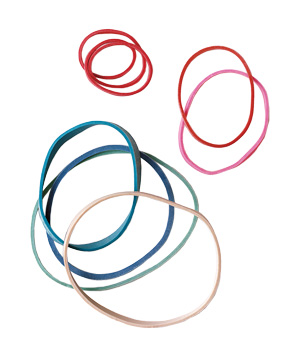 Rubber bands used to secure glasses in dishwasher
