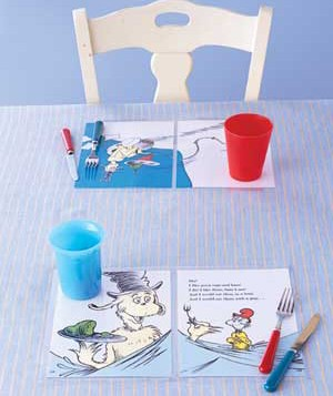 Storybook pages as placemats