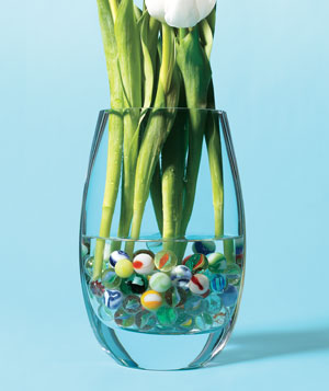 Marbles in flower vase