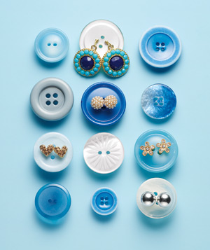 Blue buttons and earrings