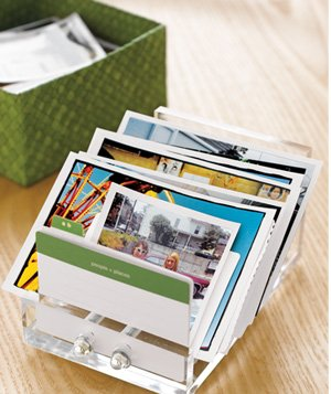 Business card organizer used to hold photos