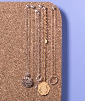 Corkboard as Jewelry Organizer