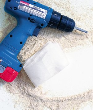 dryer sheet used to wipe sawdust