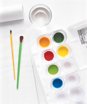 Egg carton used as paint palette