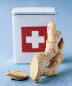 Ginger root used to soothe burns