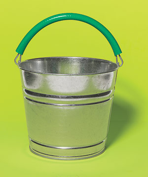 Section of hose wrapped around a bucket handle