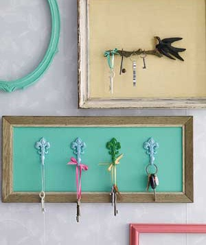Picture frame used as a key hanger