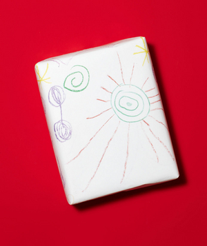 New use: kid's art as holiday wrap