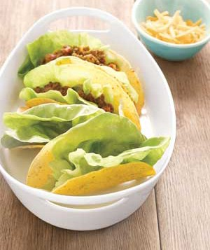 Taco shells lined with lettuce