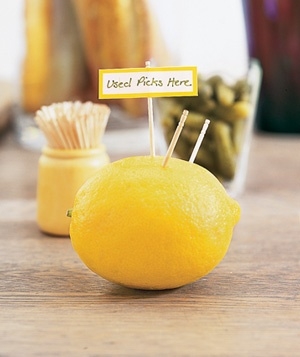 Lemon used to collect toothpicks