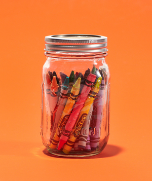Mason jar with crayons