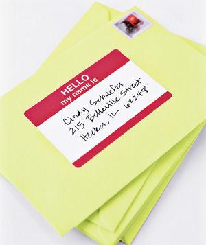 Name tags used as mailing lables