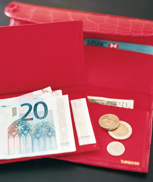 Red checkbook case holding Euros