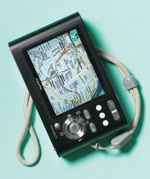 Digital camera with a city map on the display screen
