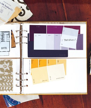 Photo album used to store fabric swatches