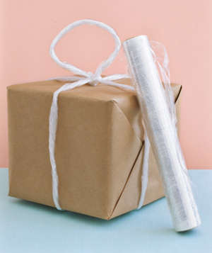 Plastic wrap used to carry unwieldy packages