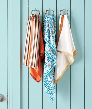 Shower curtain rings used to store scarves