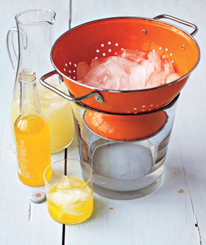 Orange colander holding ice